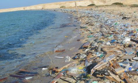 Praia poluída plástico